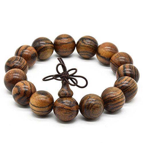 Rel Goods Men Natural Wood Tiger Stripe Sandalwood Beads Link Necklace Fashion Bracelet Boutique Elegant Prayer Bead (15mm15) - Costumes Direct Australia