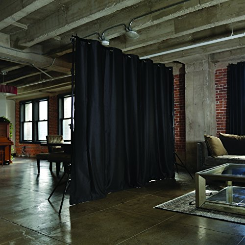 (RoomDividersNow Premium Heavyweight Freestanding Room Divider Kit - Medium B, 9ft Tall x 12ft 6in - 25ft Wide (Midnight Black))