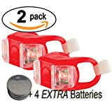 Cheap Bright Eyes Silicone Bike Tail Light Rear Safety LED Lights (Red, Set of 2)