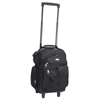 everest deluxe wheeled backpack black one size