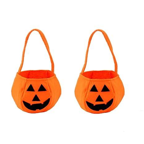 Amazon.com: Lemoning 2PC Halloween Smile Pumpkin Bag Kids ...