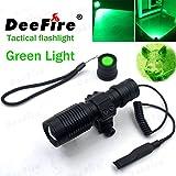 DeeFire Tactical Flashlight Spotlight Flood Light Zoomable Tactical Hunting light Torch(Green Light)