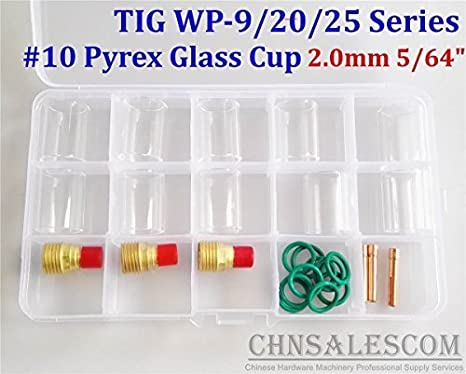 """26 pcs TIG Welding  Gas Lens #10 Pyrex Glass Cup Kit for WP-9//20//25 1.0mm .040/"""""""