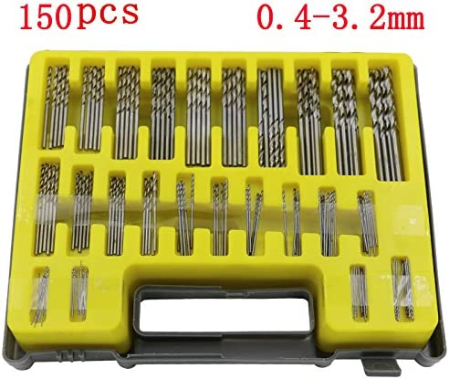 LIPOVOLT 150Pcs 0.4-3.2mm Mini Micro HSS Precision High Speed HSS Twist Drill Bit Set