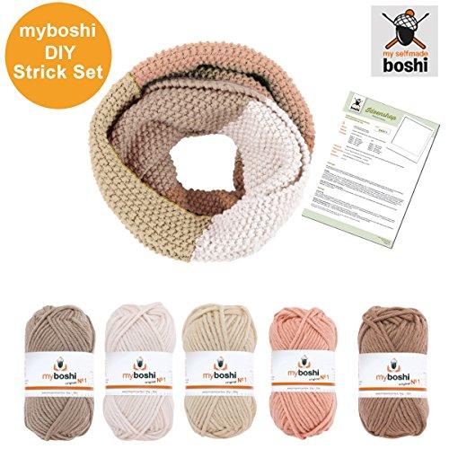 Myboshi Strick-Set Loop-Schal: Strickanleitung + Label + 5 Knäuel Strickgarn myboshi No.1: (Schlamm / elfenbein / Beige / Puder / Ocker)