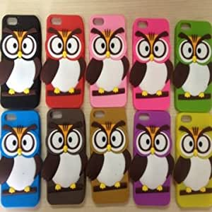 3D Cute Cartoon Owl Silicon Gel Soft Back Cover Case For iPhone 5 --- Color:Brown