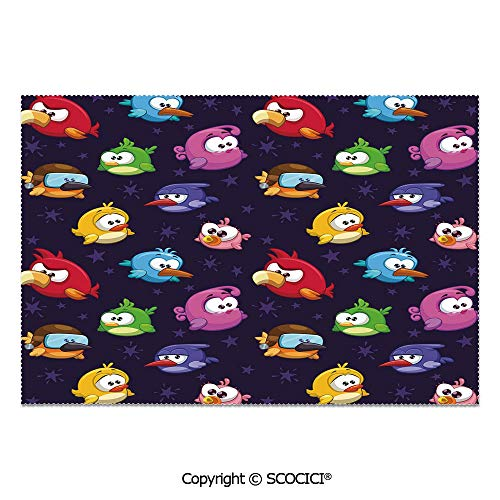 SCOCICI Set of 6 Printed Dinner Placemats Washable Fabric Placemats Angry Flying Birds Figure with Various Expressions Game Toy Kids Babyish Artsy Image for Dining Room Kitchen Table Decoration ()