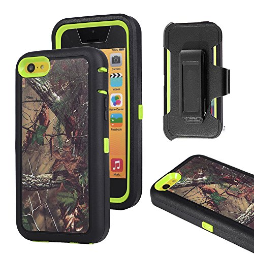 iPhone 5c Case, Harsel Defender Series Heavy Duty Tree Camouflage High Impact Tough Rugged Armor Hybrid Protective Military Built-in Screen Protector Case Cover for iPhone 5C (Forest / Green)