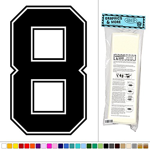 Number 8 Decal (Graphics and More Varsity Number 8 - Sports Kids Room - Vinyl Sticker Decal Wall Art Decor -)