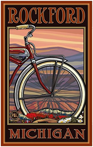 Rockford Michigan Old Half Bike Travel Art Print Poster by Paul A. Lanquist (30