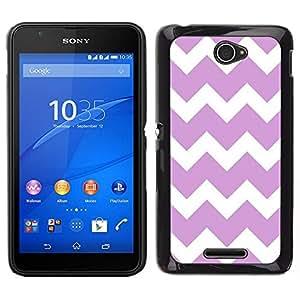 EJOY---Cubierta de la caja de protección para la piel dura ** Sony Xperia E4 ** --Púrpura Modelo blanco minimalista con estilo