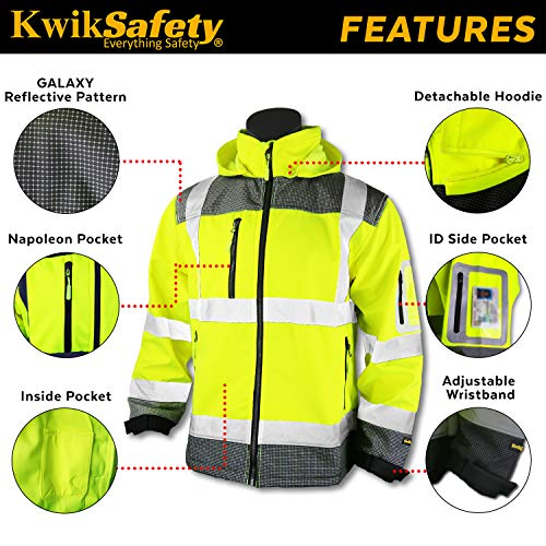 KwikSafety (Charlotte, NC) GALAXY Class 3 SoftShell Safety Jacket | ANSI Water Resistant Lightweight Reflective Hi Vis PPE Detachable Hood| Wind Rain Construction, Men Women Yellow | XX-Large by KwikSafety (Image #4)