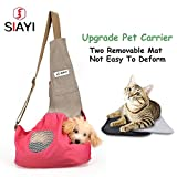 SIAYI Hands Free Pet Dog Sling Carrier Bag Not Easy to Deform Machine Washable with Two Removable Mats, Ventilation Mesh, Adjustable Shoulder Strap & Inside Safety Leash for Dogs, Cats & Small Animals