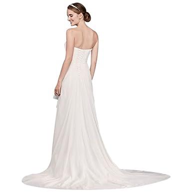 6ba8cc01 Draped Chiffon Sheath Wedding Dress with Beading Style WG3872, Soft White, 0