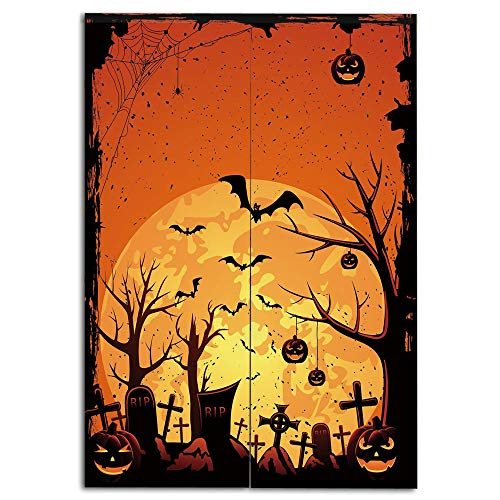 iPrint Door Curtain(Two Panels) Drawings Printing,Halloween,Grungy Graveyard Cemetery Necropolis with Bats Pumpkins Crosses Cobweb Decorative,Orange Brown Black,Well Designed for You,W33.5 xH47.2