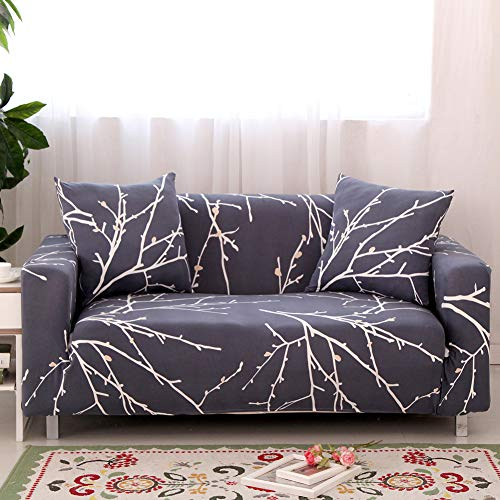 Ihoming Printed Stretch Sofa Slipcover Loveseat Slipcover Couch Slipcover with 2 Free Pillow Covers, 2/3/4/ Seat Sofa Covers Navy (Loveseat, White Branch) (Pillow Slipcovers Couch)