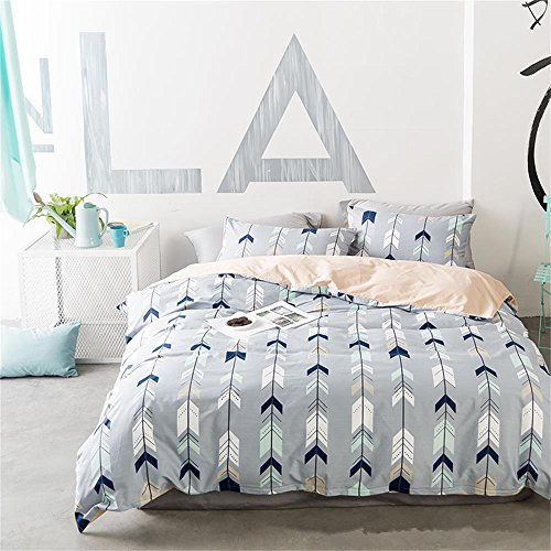 EnjoyBridal total Queen Bedding Sets Cotton Teens Kids Bed Geometric Duvet Cover Sets Zipper Triangle Cupid's Arrow Quilt Comforter Cover for Boys Girls (Queen, Blue-Grey)