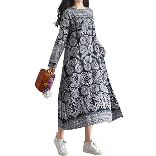 SIMSHION Floral Printed One-Piece Long Sleeve Vintage Maxi Long Dress For Women Floral (Vintage Maxi)