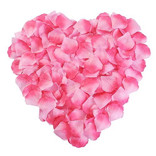 Silk Rose Petals Flower Red for Wedding Proposal Decorations 2000PCS by NewStarFire (Pink) ()