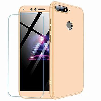 JJWYD Funda para Huawei Honor 8 Lite Carcasa+Protector de patalla [Ultra-Delgado] [Ligera] Mate Anti-arañazos y Antideslizante Caso Forro Gold
