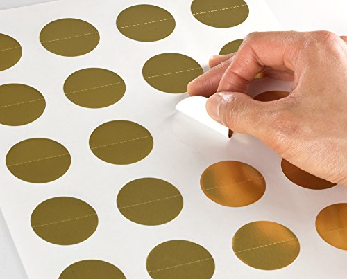 Gold Foil 1.5 inch Circle Perforated Center Seal Labels for Laser Printers with Downloadable Template and Printing Instructions, 5 Sheets, 100 Labels (GD15)