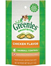 FELINE GREENIES Smartbites Natural Cat Treats Hairball Control, Chicken Flavour, 2.1oz Pouch