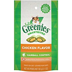 FELINE GREENIES SMARTBITES Hairball Control Natural Treats for Cats Chicken Flavor 2.1 oz.