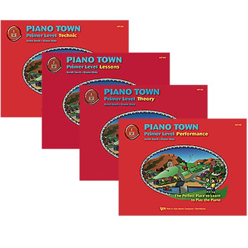 Piano Town Primer Level Piano Learner's Pack - Lesson, Theory, Performance and Technic Primer Level Books