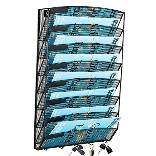 Samstar 8 Pocket Wall File Organizer, Mesh Hanging File Holder Wall Mount Paper Letter Organizer, Magazine Rack, Black