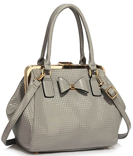 Faux and 1 leather Bow Medium Bags Ladies Design Grey Metal With Tote Handbags Designer Womens Work 6qBXavn