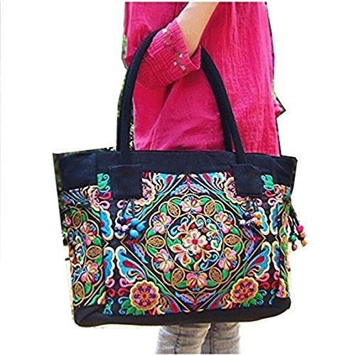 Frauen Taschen, Damen Handtaschen, Leinwand und Gestickt aus Himalaya Schulter Beutel