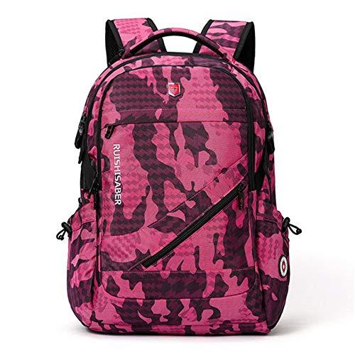 Anti-thief USB Charging Laptop Travel Backpack Female Vintage School Bag 15/17inchSmall Rose473017cm
