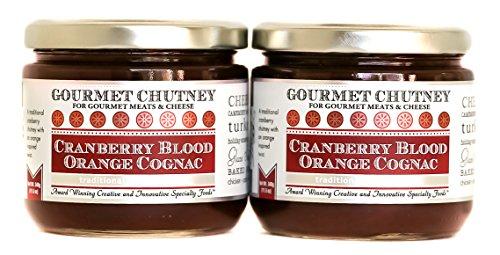 Wozz Kitchen Creations Cranberry Blood Orange Cognac Chutney - All Natural Non GMO Gourmet Cranberry Sauce - Set of 2 (each jar weighs 11.5 ounces)