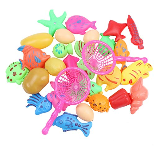 TANGON Magnetic Fishing Toys Game Set Bath Pool Toys for Kids Water Table Bathtub Pool Party with Pole Rod Net, Plastic Floating Fish - Toddler Education Learning Colors Ocean Sea Animals