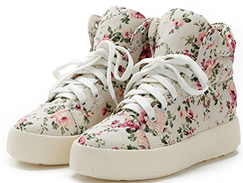 Women's Casual Floral High Top Hidden Heel Wedges Platform Fashion Sneakers (6.5, (Cheap Shoes For Teen Girls)