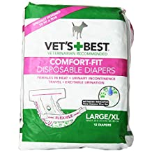 Vets Best Vet's Best 12 Count Comfort Fit Disposable Female Dog Diapers, Large/X-Large