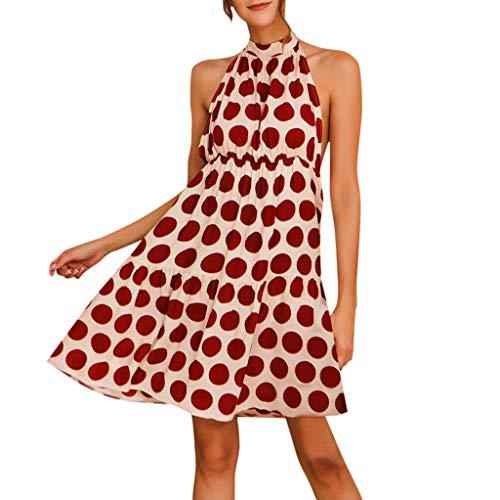Wenini Women Boho Dot Print Dress Halterneck Spotted Belt Ladies Summer Midi Sun Dress
