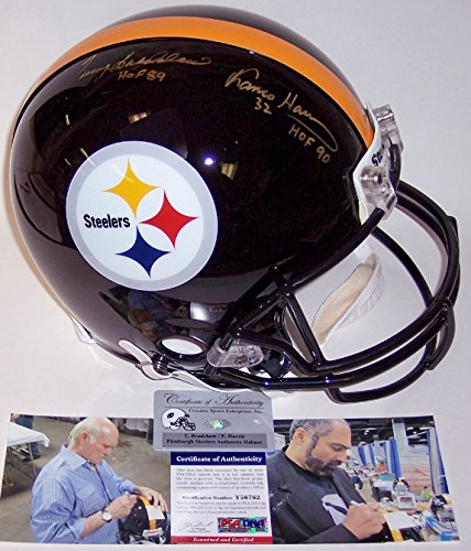 Terry Bradshaw & Franco Harris Autographed Hand Signed Pittsburgh Steelers Authentic Helmet - PSA/DNA