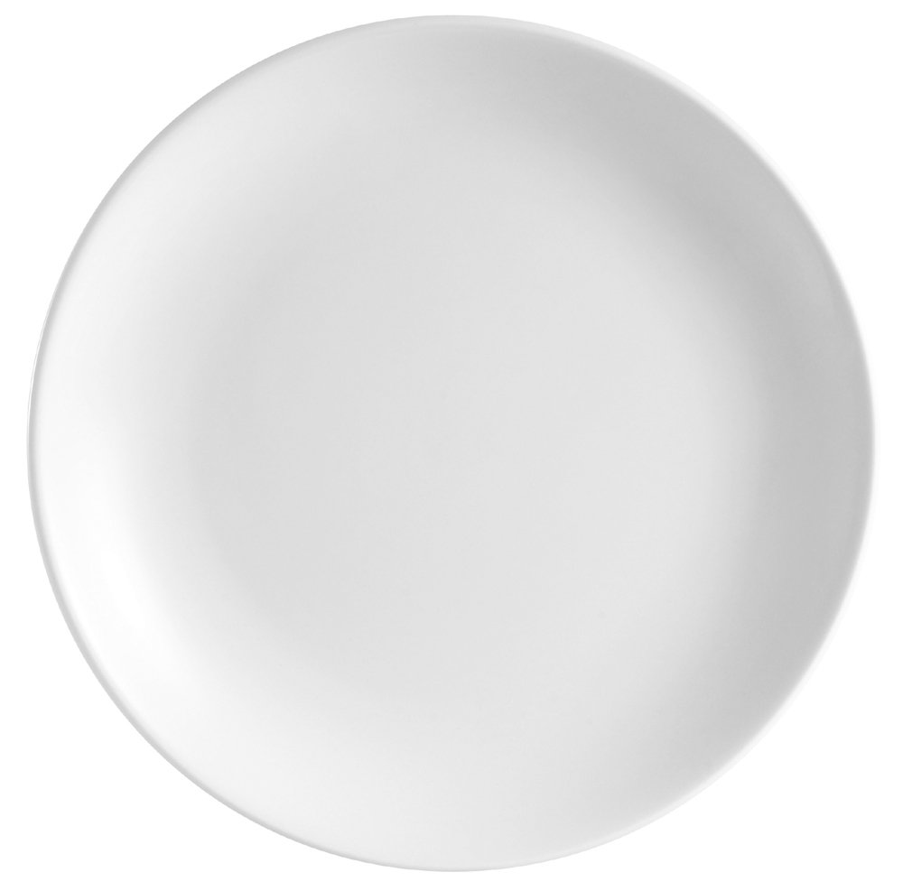 CAC China COP-21 Coupe 12-Inch Super White Porcelain Plate, Box of 12