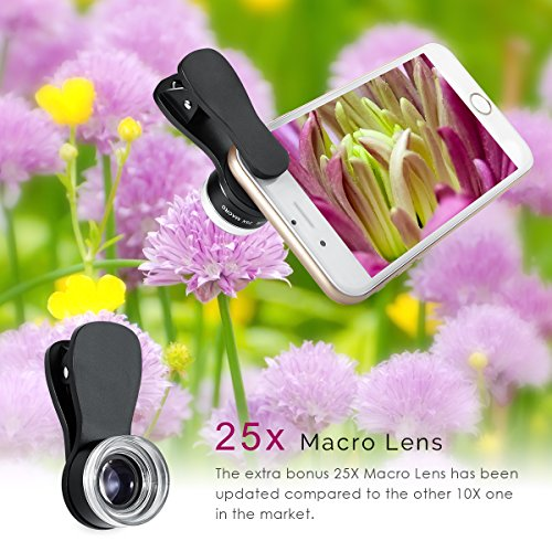 AMIR Phone Camera Lens, 180° Fisheye Lens + 25X Macro Lens + 0.36X Wide Angle Lens, Clip-On 3 IN 1 Cell Phone Camera Lens for iPhone 7/8 / X / 7 PLUS / 6, Samsung, Other Smartphones by AMIR (Image #2)
