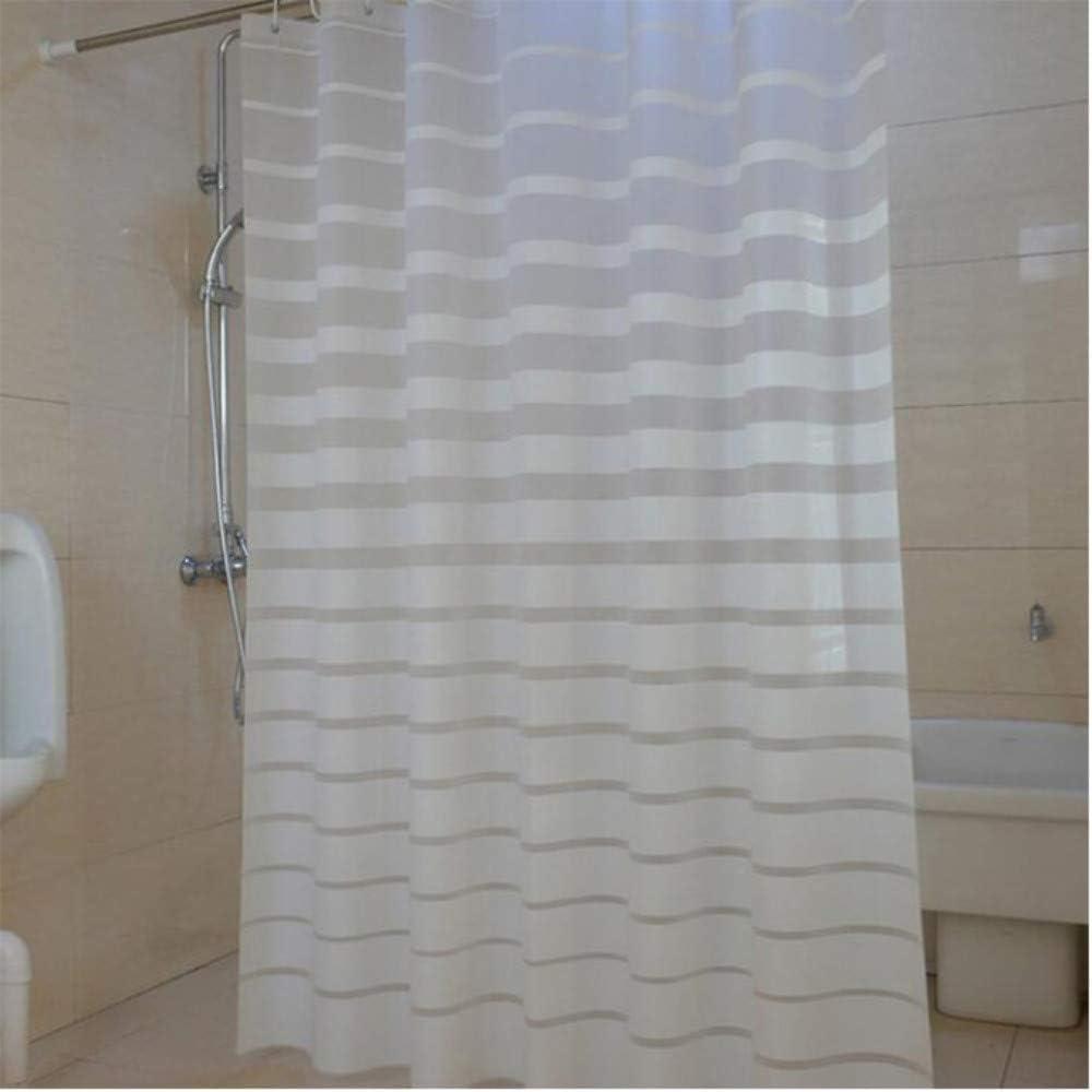 XQWZM Las Cortinas de Ducha plásticas rayaron la mampara de baño para la Cortina Impermeable de la Prueba del Molde del Cuarto de baño del Hotel con los Ganchos, 180X180Cm: Amazon.es: Hogar
