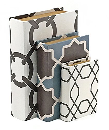 Bellaa 28076 Book Box Western Flux Leather Secret Storage Set of 3 by Bellaa