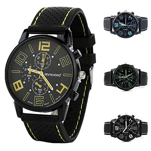 FinancePlan Men's Fashion Quartz Analog Watches, Silicone Rubber Band Stainless Steel Wrist Watch on Sale Clearance by FinancePlan (Image #7)