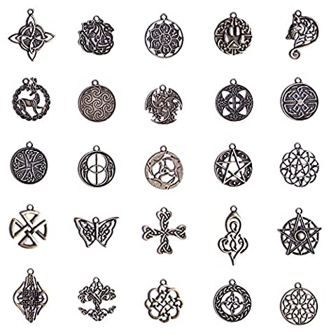 Celtic Irish Knot Charms Pack of 25pcs (Antique Bronze) - Celtic Love Symbol