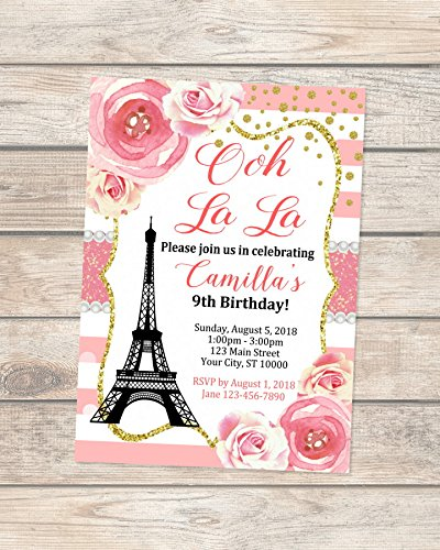 Amazon paris birthday invitations eiffel tower invitations paris birthday invitations eiffel tower invitations french theme paris birthday party invitation ooh la la invitations black white stripes floral filmwisefo
