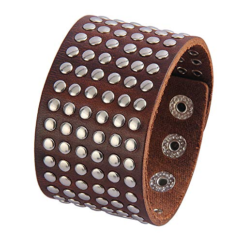 AZORA Punk Leather Bracelet Handmade Brown Cuff Bangle Silver Metal Spike Studded Wristband Adjustable Bracelets for Men,Kids,Boys,Women