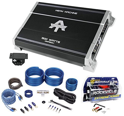 Autotek MMA1500.1 1500w Mono Car Audio Amplifier Mean Machine+Amp Kit+Capacitor (Amp Machine Mean)