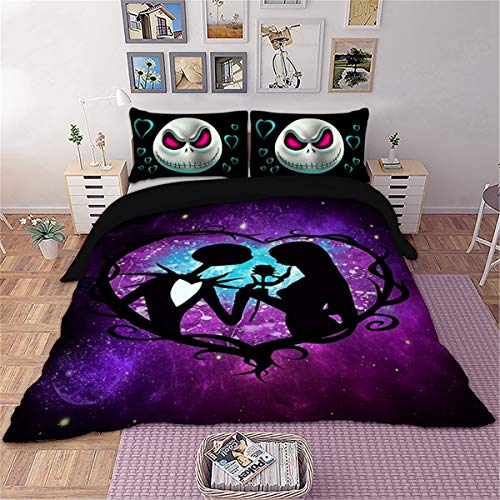 - Skull Bedding Set Queen 3D Purple Nightmare Before Christmas Printed Duvet Cover Set Soft Microfiber Bedding Duvet Cover with 2 Pillowcases Zipper for Adults