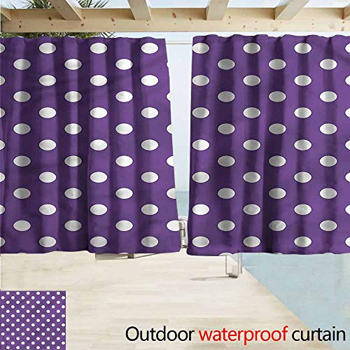 MaryMunger Sliding Door Curtain Eggplant White Polka Dots Retro Rod Pocket Energy Efficient Thermal Insulated W55x45L Inches