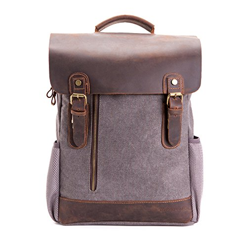 15.6 inch Canvas Leather Backpack,WalkingToSky Retro Canvas